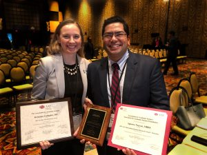 Kristalyn Gallagher, DO, and Aproove Nayyar, MBBS, after winning their awards.