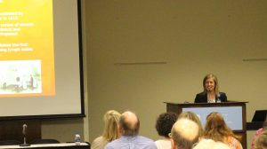 """UNC Lineberger's Carrie Lee, MD, spoke at the """"Understanding Melanoma: From Prevention to Treatment"""" seminar on May 14."""