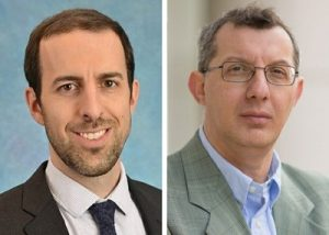 Left to right, Eben Lichtman, MD, and Gianpietro Dotti, MD, have identified a potential way to use CAR T-cells to target a subtype of acute myeloid leukemia.