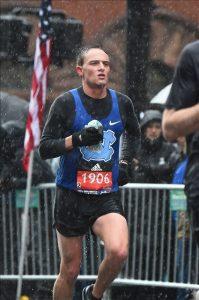 Alex Jeffs runs in the 2018 Boston Marathon