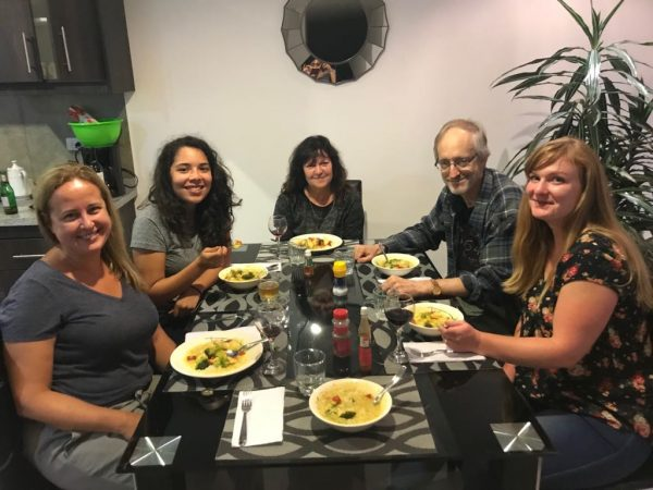 Research team having dinner together in Cuenca. Left to right: Luisa Cesar, Karla Jimenez, Dr. Sheryl Zimmerman, Dr. Philip Sloane, Brenna McColl. Not pictured: Erika Munshi