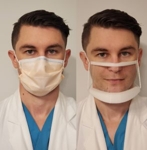Normal mask vs clear mask, demonstrated by Ian Kratzke, MD